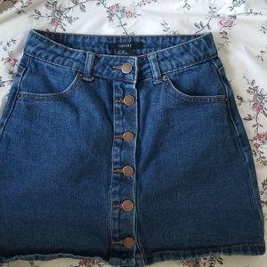 F21 Denim button up skirt